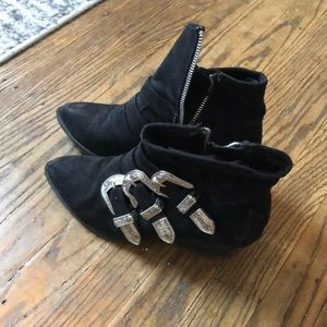 Suade size 6 1/2 black buckled booties